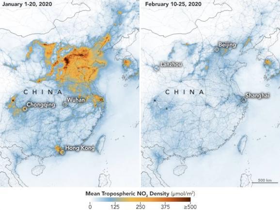 Cartecréée par la Nasa à partir des données du satellite Sentinel-5 de l\'ESA montrant lesconcentrations en dioxyde d\'azote en Chine, enjanvieret février 2020.