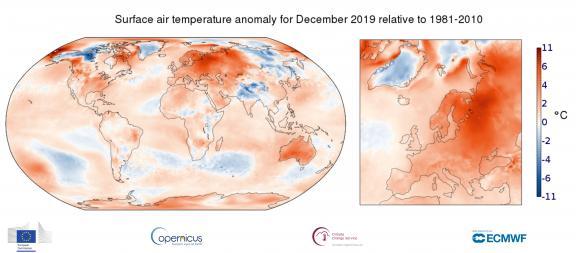 Anomalie de la température de l\'air en surface en décembre 2019 par rapportà la moyenne mensuelle de 1981 à 2010.