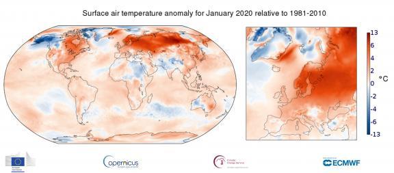 Anomalie de la température de l\'air en surface enjanvier 2020 par rapportà la moyenne mensuelle de 1981 à 2010.