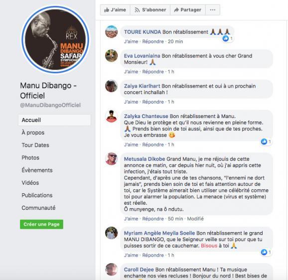 Les messages de prompt rétablissement adressés à Manu Dibango sur sa page Facebook, le 18 mars 2020.