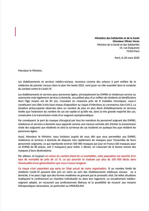 Extrait de la lettre adressée par le secteur de la gériatrie au ministère de la Santé sur la gestion du covid-A9, révélée par France Télévisions le 20 mars 2020.
