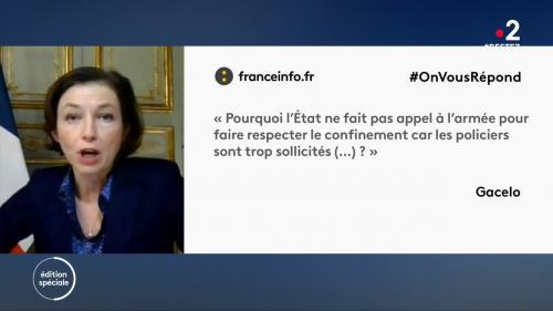 VIDEO. #OnVousRépond : rôle des militaires, respect du confinement... la ministre des Armées Florence Parly a répondu à vos questions