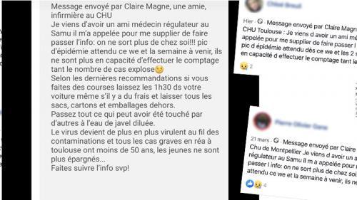 """Coronavirus: ce SMS signé """"Claire Magne, une amie, infirmière"""", est un faux"""
