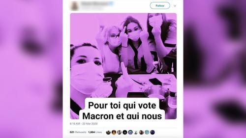 Non, cette photo ne montre pas des aides-soignantes adressant un doigt d'honneur aux électeurs d'Emmanuel Macron