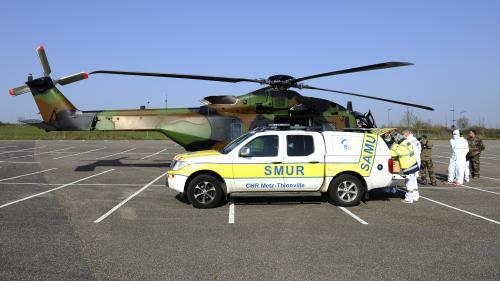 Coronavirus : un premier hélicoptère militaire transfère des patients de Metz vers l'Allemagne