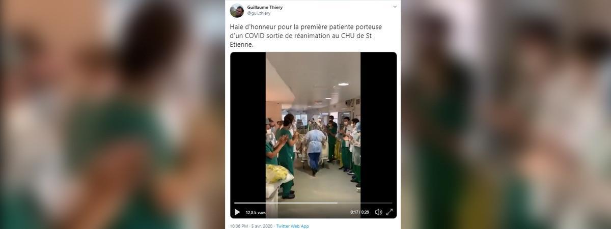 Guillaume Thiery, professeur de médecine intensive en réanimation au CHU de Saint-Étienne, a filmé la première haie d\'honneur et posté la vidéo sur Twitter, dimanche 5 avril.