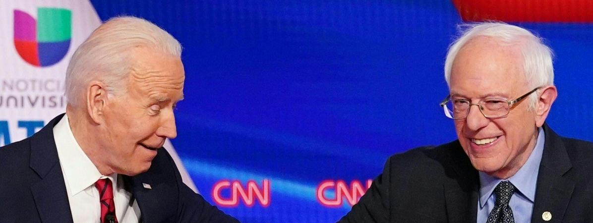 Joe Biden et Bernie Sanders, le 15 mars 2020, lors d\'un débat dans le cadre des primaires démocrates, àWashington.