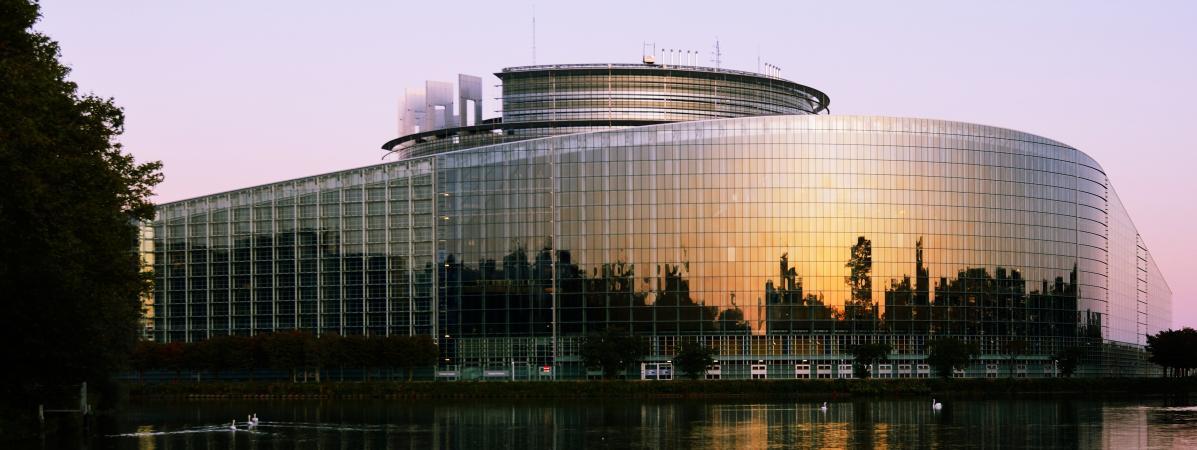 L\'arrière du Parlement européen à Strasbourg (Bas-Rhin), le 15 septembre 2019.