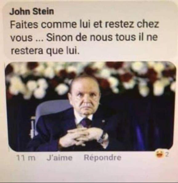 L'ancien président algérien Abdelaziz Bouteflika dans un tweet satirique.