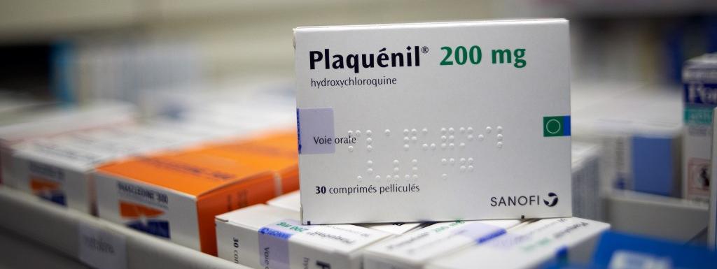 Une boîte de Plaquénil, un médicament contre le paludisme à base d'hydroxychloroquine, photographié dans une pharmacie de Toulouse le 7 avril 2020.