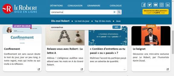 Le portail Le Robert Dico en lignelancé le16 avril 2020