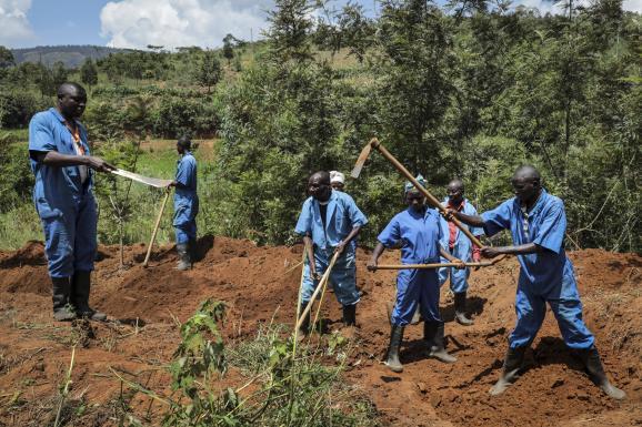 Mandatés par la Commission vérité et réconciliation du pays, des ouvriers recherchent des restes humains sur les lieux d\'une fosse commune dans la province de Karusi (nord-est du Burundi). Six fosses communes, remontant aux massacres de 1972, ont été découverts dans la région. Elles ont livré les restes de quelque 6000 personnes.