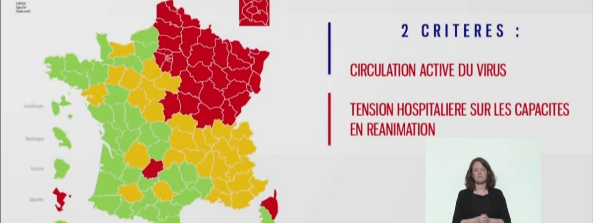 Capture d'écran de la carte qui présente les départements rouges et verts en fonction de la circulation du coronavirus et de la saturation des services de réanimation, présentée le 30 avril 2020.