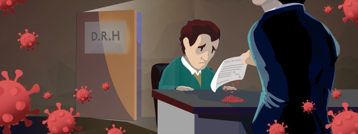 Illustration d\'un salarié à qui on propose une baisse de rémunération en raison de la crise économique liée au coronavirus.