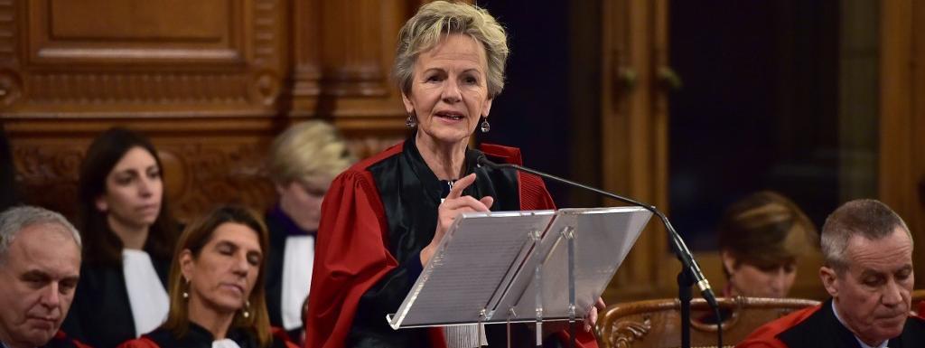 Eliane Houlette, alors procureure nationale financière, lors d\'un discours au tribunal de grande instance de Paris, le 23 janvier 2017.