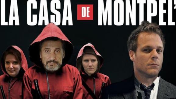 """L'humoriste Rémi Gaillard (à droite) a réalisé un montage photo avec ses alliés à l'occasion du second tour des municipales, en s'inspirant de la série espagnole """"La Casa de papel""""."""