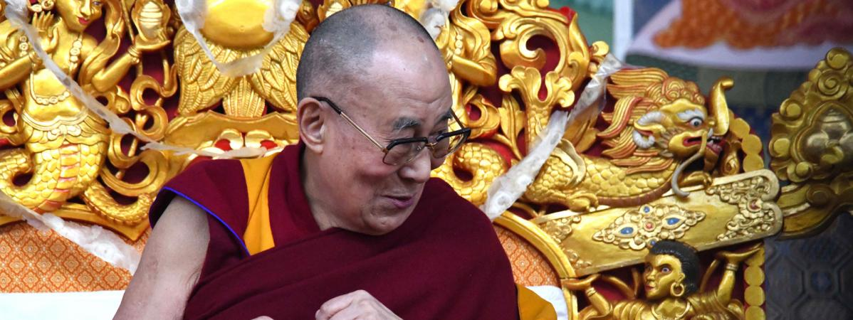 Le Dalaï Lama, le 5 janvier 2020 à Bodhgaya, en Inde, lors d\'une démonstration d\'enseignements.