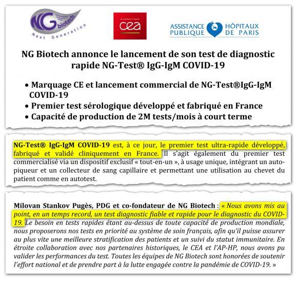 Extrait d'un communiqué publié par la société NG Biotech le 31 mars 2020.