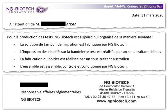 Extrait d'un courrier de la société NG Biotech à l'ANSM.