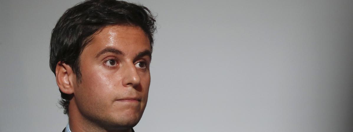 Le porte-parole Gabriel Attal lors d\'une conférence de presse au Palais de l\'Élysée à Paris, le 7 juillet 2020.