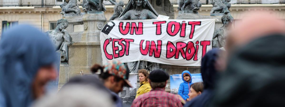 Lors d\'un rassemblement contre les expulsions locatives, à Nantes le 4 juillet 2020 (photo d\'illustration).