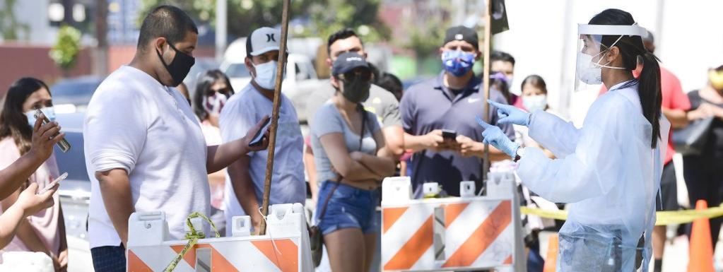 Un centre de test du coronavirus à Los Angeles, en Californie, le 10 juillet 2020.