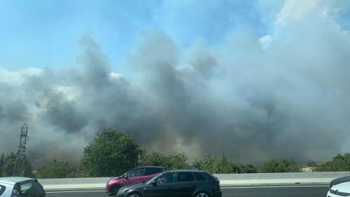 """Gard : l'incendie aux abords de l'autoroute A9 est """"maîtrisé"""", quatre pompiers blessés"""