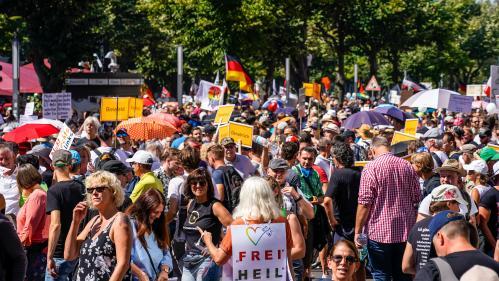 """Coronavirus : le gouvernement allemand condamne des comportements """"inacceptables"""", après une manifestation anti-masque"""