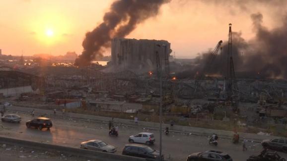 Les dégâts dans le port de Beyrouth où une explosion a eu lieu le 4 août 2020.