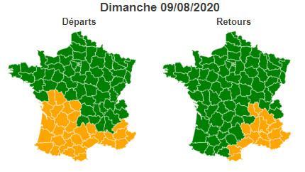 La journée du dimanche 5 août 2020 est classée verte au niveau national dans le sens des retours mais orange en région Auvergne-Rhône-Alpes et sur le pourtour méditerranéen.