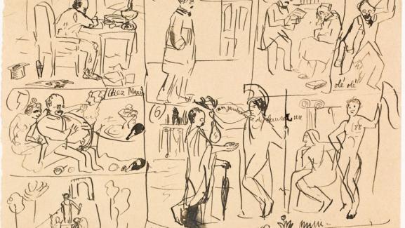Esquissée en quelques traits rapides, cette œuvre de Picasso évoque une planche de bande dessinée et montre l'apothéose fantasmée et burlesque du poète Max Jacob.