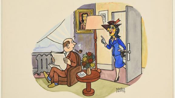 """Le dessinateur français Maurice Henry utilise l\'imaginaire collectif lié à Picasso dans ce dessin plein d\'humour, \""""Devine chez quel peintre je viens de poser ?\"""""""