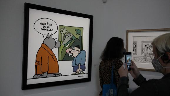 Le dessinateur belge Philippe Geluck, espiègle comme on le connaît, avec ce gag du visiteur de musée aux airs de cubisme picassien.