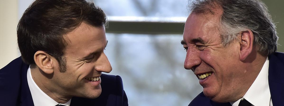 Emmanuel Macron etFrançois Bayrou, le 14 janvier 2020, lors d\'une rencontre à Pau (Pyrénées-Atlantiques).