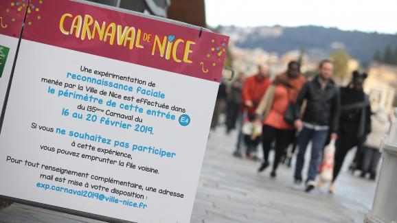 Un système de reconnaissance faciale est testé lors du carnaval de Nice, le 18 février 2019.