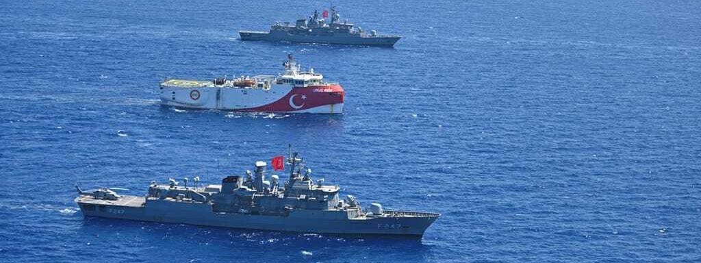 """Le navire de recherche sismique turc \""""Oruç Reis\"""", en Méditerranée orientale, le 20 août 2020."""