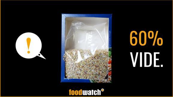 """Un visuel de la nouvelle campagne de l'ONG Foodwatch, visant à dénoncer les emballages alimentaires """"pleins de vide"""" dans les supermarchés français, présentée le 17 septembre 2020."""