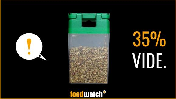 A visual denouncing the too empty packaging of a Monoprix brand spice jar, produced by the consumer association Foodwatch, as part of a campaign made public on September 17, 2020. & nbsp;