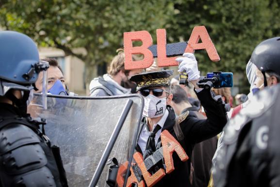 Ludovic, manifestant dans le cortège à Rouen, le 26 septembre 2020, un an après l'incendie de l'usine Lubrizol.