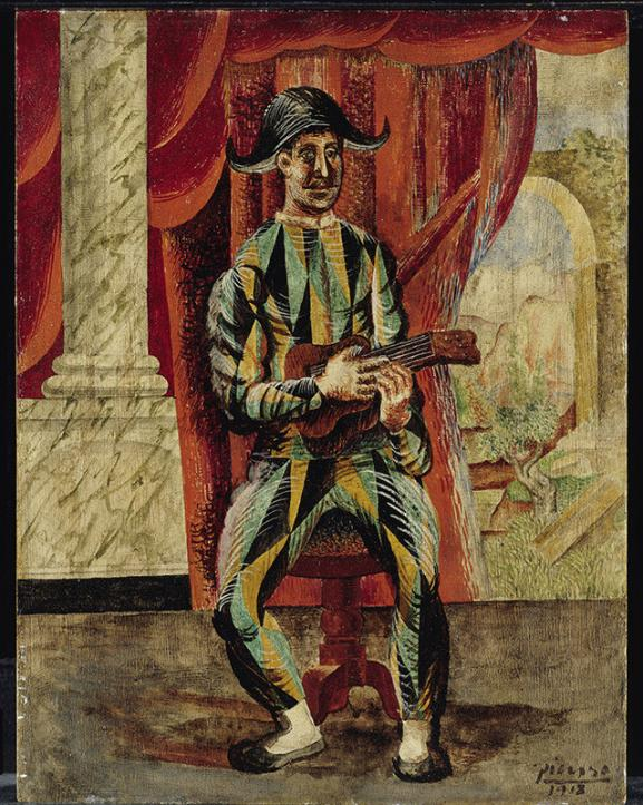 Pablo Picasso (1881-1973) Harlequin with guitar, Paris, 1918 Oil on wood, 35 x 27 cm, Staatliche Museen zu Berlin, Nationalgalerie, Museum Berggruen.  NG MB 30/2000