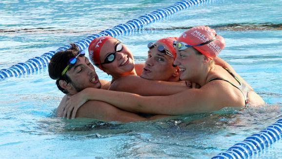 Margaux Bernard et d'autres nageurs au centre d'entrainement de l'Illberg à Mulhouse, le 21 octobre 2015.