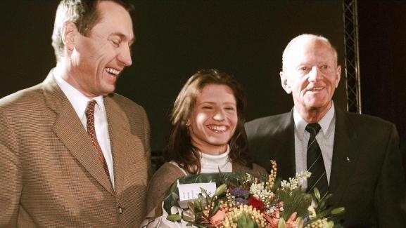 Jean-Marie Bockel, Roxana Maracineanu et Laurent Horter, le 25 janvier 1998 à Mulhouse.