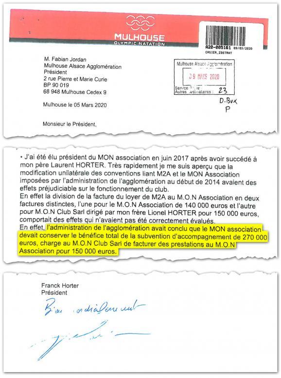 Extrait d'une lettre adressée par le président du MON au président de l'agglomération mulhousienne.