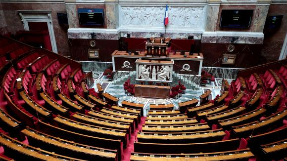 L\'hémicycle de l\'Assemblée nationale le 19 mai 2020.