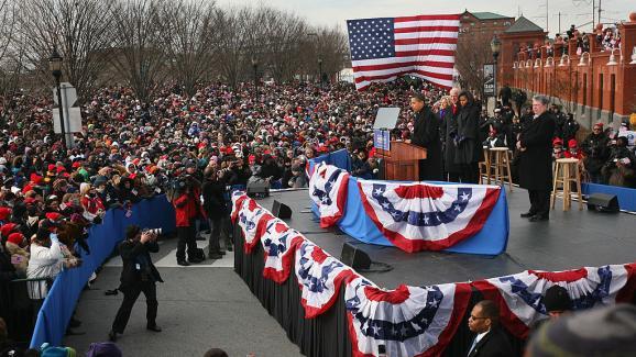 President-elect Barack Obama and Vice President Joe Biden speak to residents outside the Wilmington, Delaware train station, January 17, 2009.