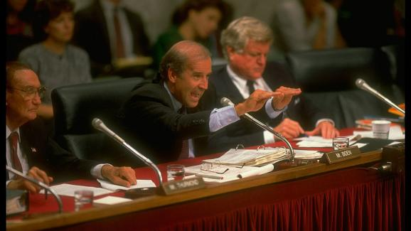 Joe Biden, then chairman of the Senate Judiciary Committee, hears Supreme Court candidate David Souter on September 1, 1990 in Washington.