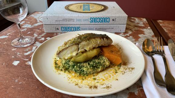 """Sea bass couscous, fennel and pumpkin, by Nordine Labiadh, recipe to find in her book """"Couscous for all """"."""