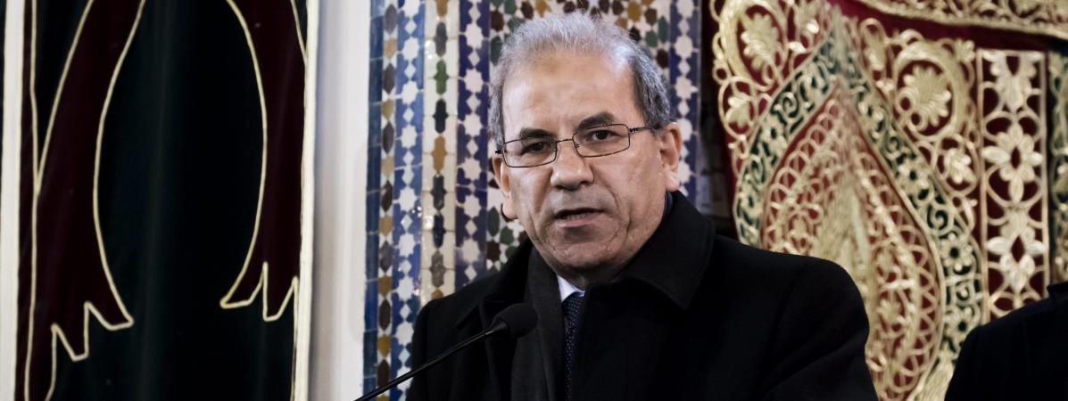 Le président du CFCM Mohammed Moussaoui lors d\'un hommage aux victimes des attentats de Christchurch (Nouvelle-Zélande), à la Grande mosquée de Paris, le 22 mars 2019.