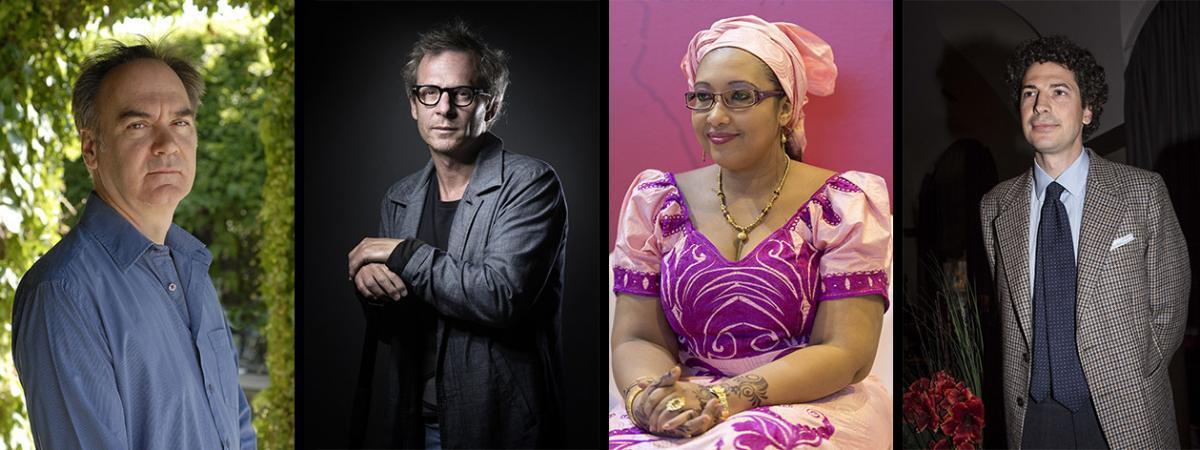 Les quatre finalistes du prix Goncourt 2020 : Hervé Le Tellier, Camille de Toledo,Djaïli Amadou Amal et Maël Renouard.