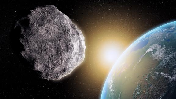 Illustration of an asteroid close to Earth